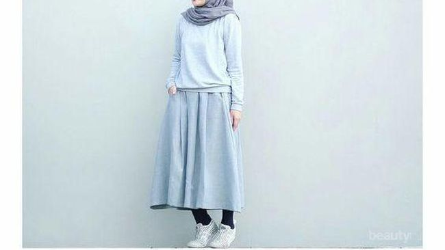 Style Hijab Simple Remaja Rok Dengan Sweater